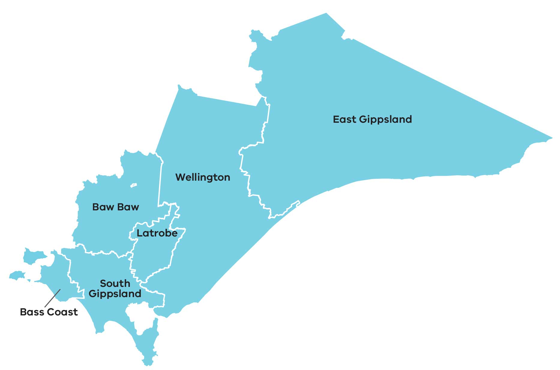 Map of Gippsland region in Victoria