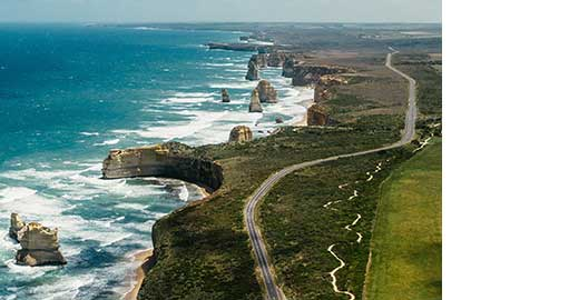 Aerial view of the Twelve Apostles and the Great Ocean Road