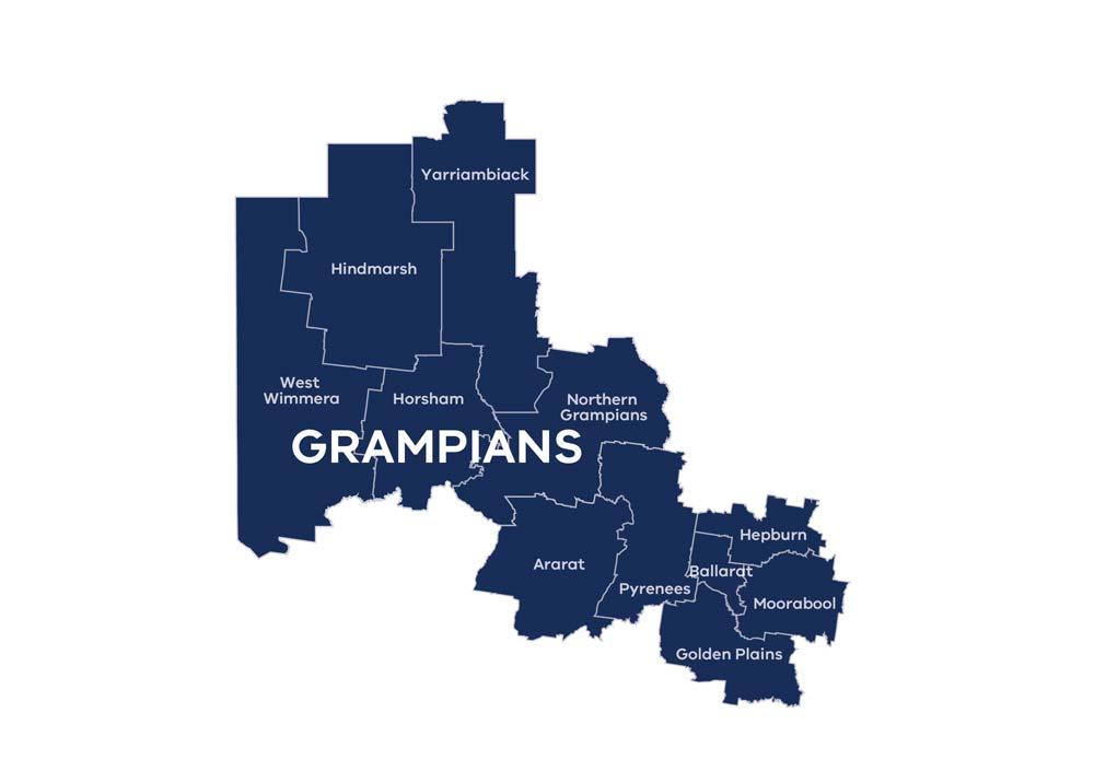 RDA Grampians region map