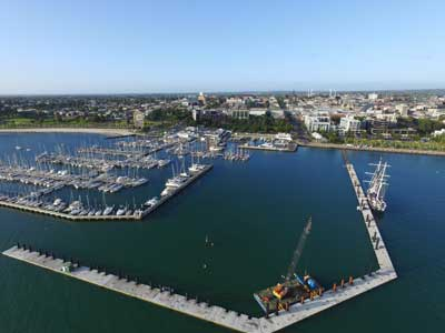 Aerial view of the Geelong waterfront