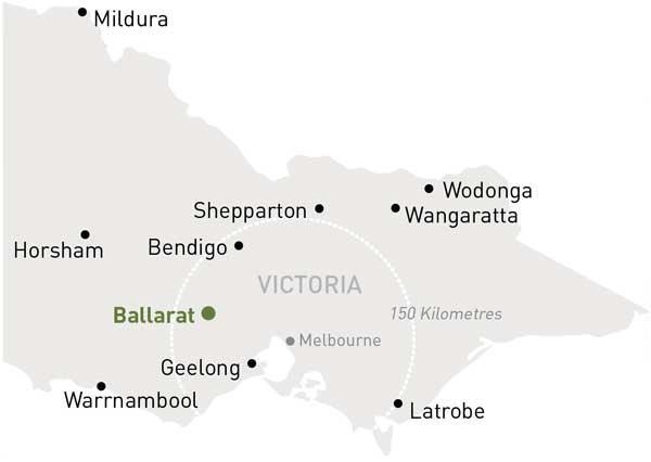 Map of Victoria highlighting Ballarat