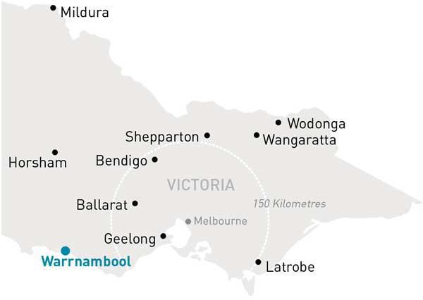 Map of Victoria highlighting Warrnambool