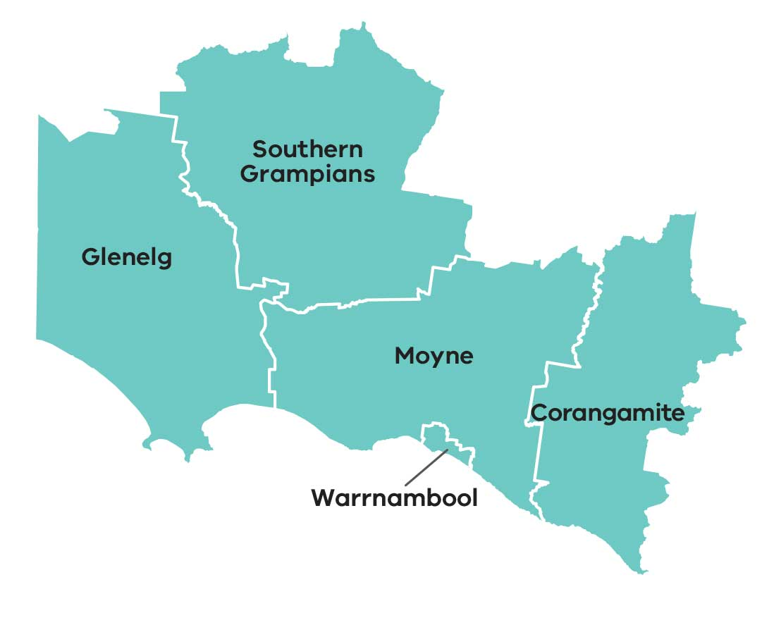 Map of the Great South Coast area of the Barwon South West region