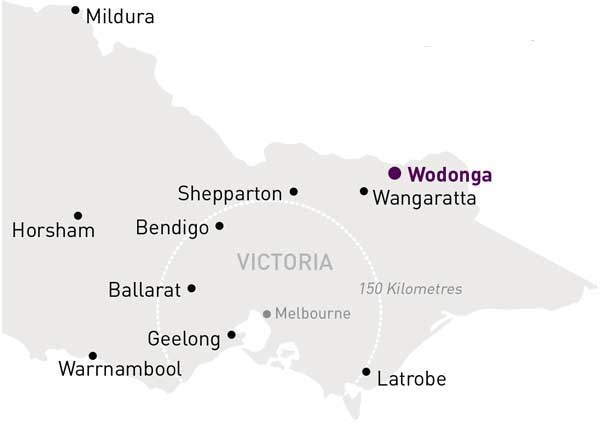 Map of Victoria highlighting Wodonga