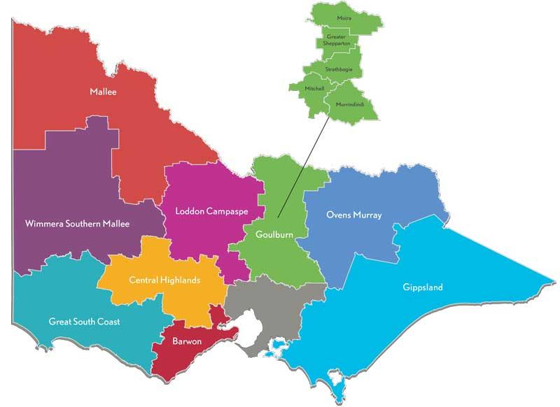 Map of the Goulburn partnership region