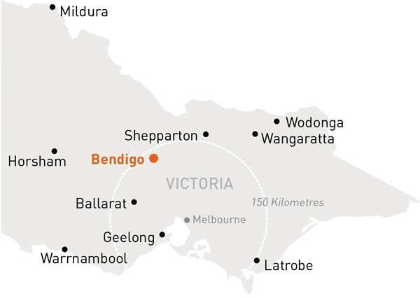 Map of Victoria highlighting Bendigo