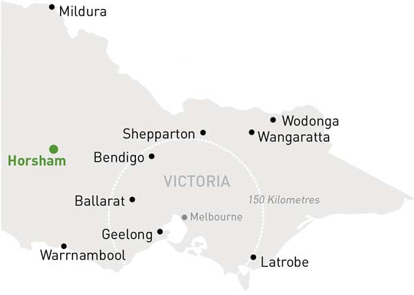 Map of Victoria highlighting Horsham
