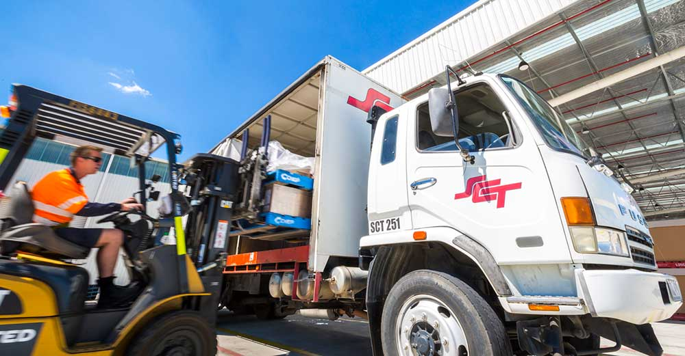 Truck being loaded at SCT Logistocs in Wodonga